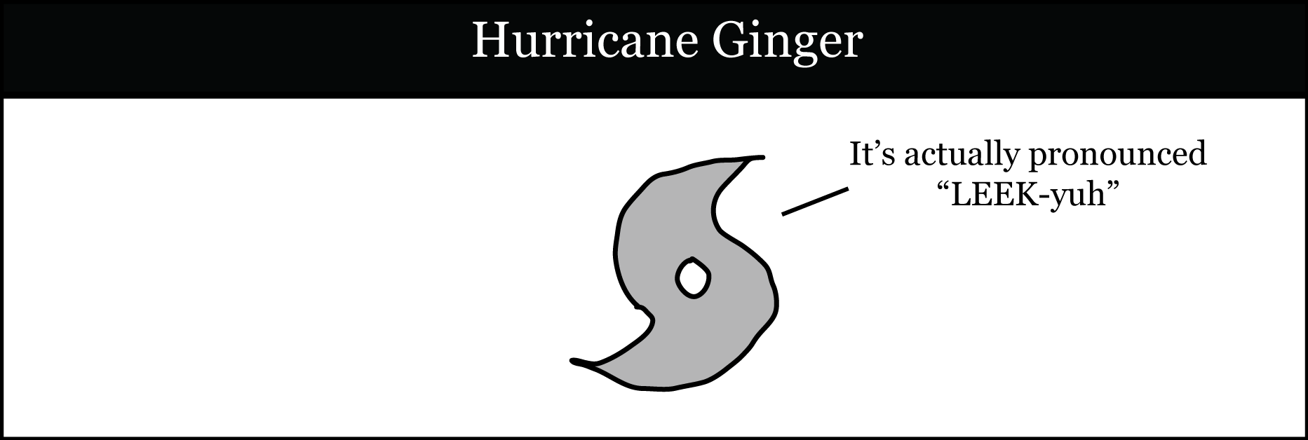 """Hurricane Ginger. Picture is of a hurricane symbol saying """"It's actually pronounced LEEK-yuh"""""""