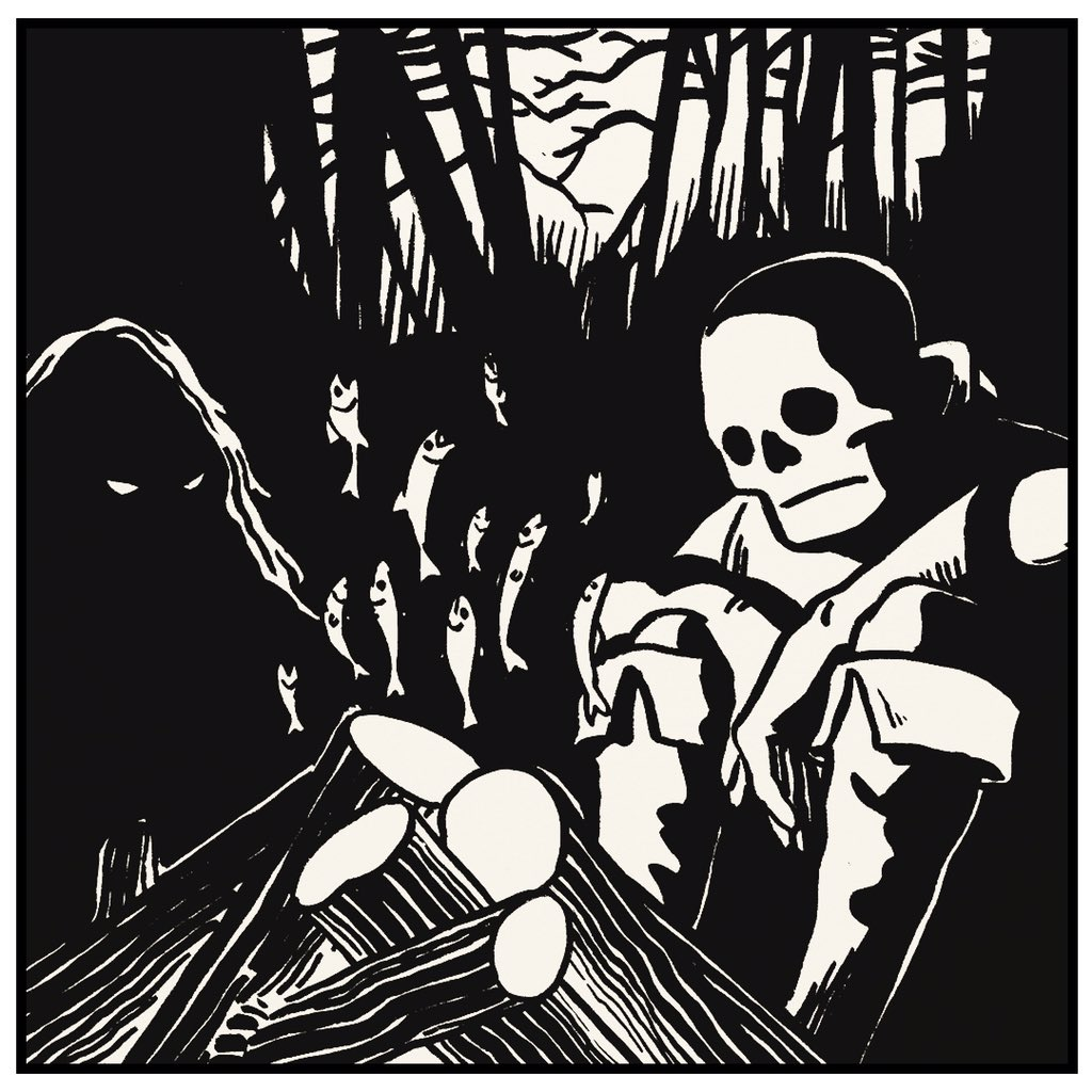 Woodcut drawing of a skeleton and a swamp monster sitting by a campfire in the woods. The flames rising from the logs are in the shape of small fish.