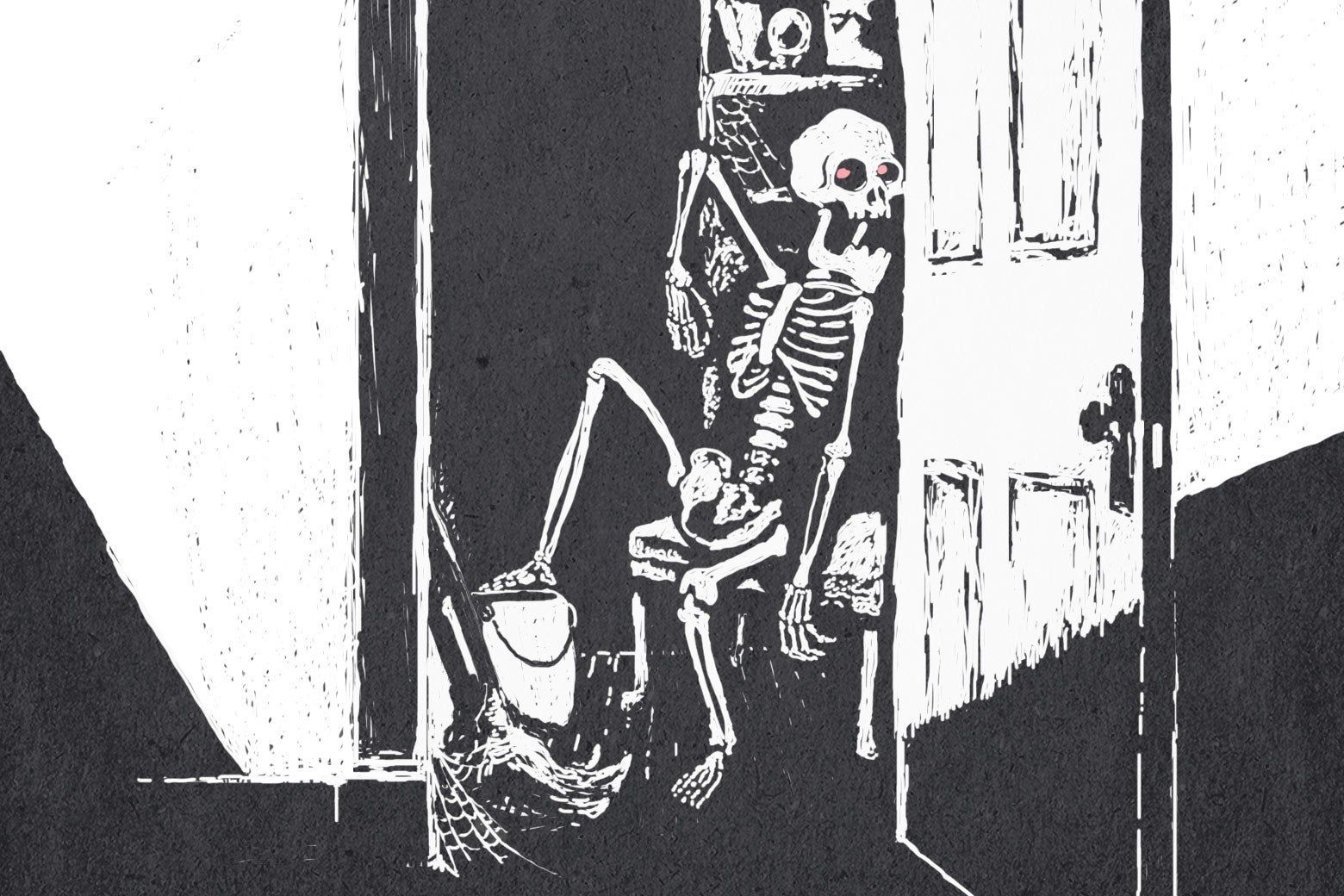 A woodcut drawing of a skeleton with red glowing eyes, lounging in a cobwebby closet next to a pail and mop