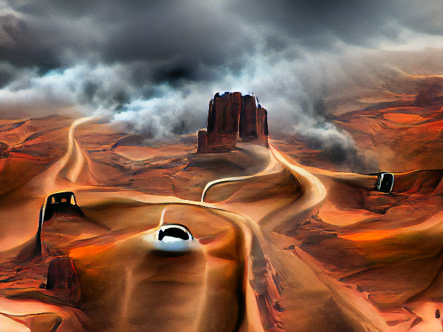 Clearly an aerial view of a red landscape in monument valley, with an iconic butte jutting dramatically in front of streams of mist. The road is still a weirdly twisted ribbon and the cars are gray and black shiny lumps.
