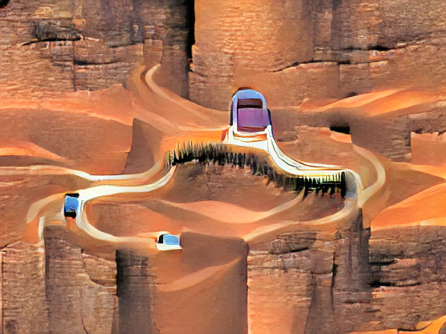 The background is textured like bricks and is steep but confusing with no real sense of scale. A few white swooping scratches might be the road; a line of hairy stitches might be trees. Three bluish rectangles might be cars but look more like old-style flip phones.