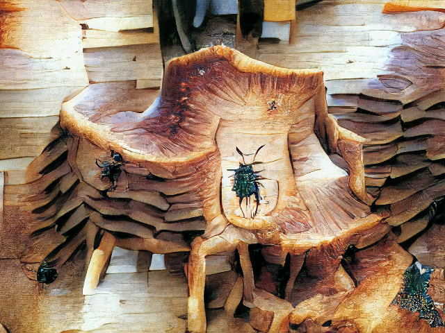 Emerging from a messy wooden plank wall is a chair-sized layered shape with a bunch of confusing legs, one arm, and oh yes three large green-black beetles.