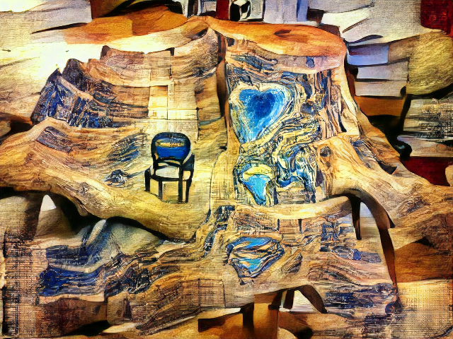 A big wooden stumplike object fills the image, with a few thick roots blending with the floor. Veins of turquoise and lapis lazuli add contrast to the weathered wood grain. Perched on a ledge is a shape kind of like a black folding chair, but squashed.