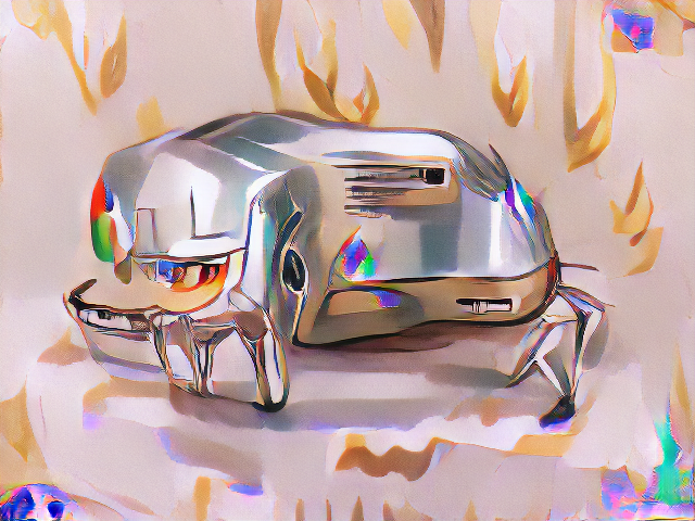A very shiny definitely metallic object with approximately the aspect ratio of a toaster but with one end twisted around to face the viewer. The shiny edges of the toaster have the colors and patterns of the google chrome logo reflected in them.