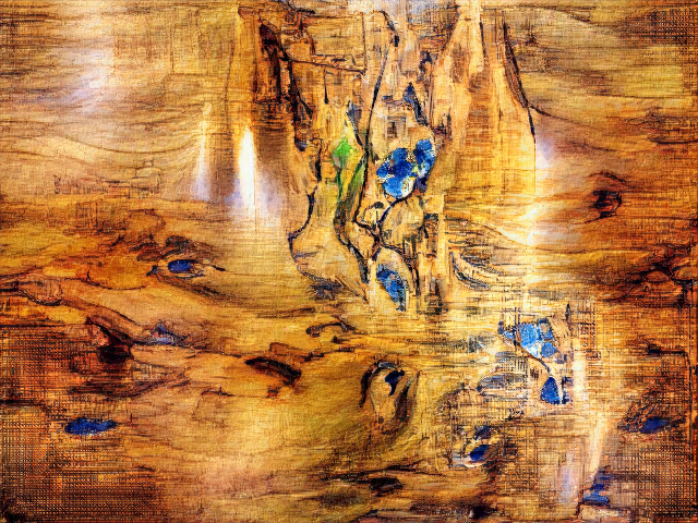 A glossy wooden surface with a few knots of deep blue and green.