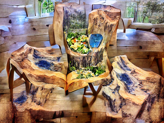 A wooden floor with vague forest beyond. A chair is merged with a coffee table and a canvas showing a painting of woods and… maybe a salad?