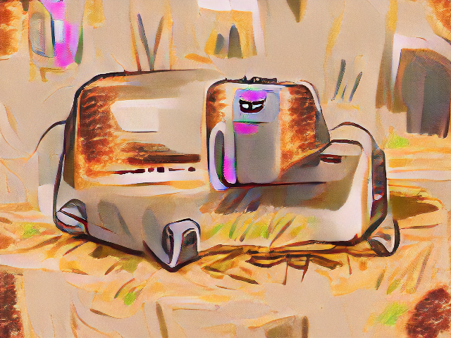 It looks like a marker drawing of a toaster-sized object with rounded corners, but with far more lumps and protrubrances and the upper corners all are textured like toast. A single cartoon eye looks tiredly out from the upper right of the object.