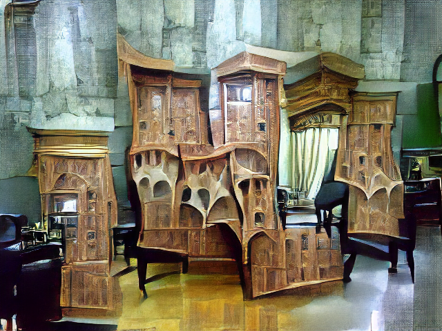 A stone room containing a wooden cabinet about 2 meters tall and 4 meters wide, with many sets of doors, a fancy cabinet top, and generally confusing geometry.