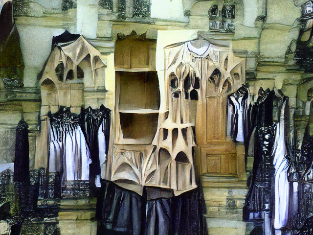 A stone room with webbed structures somewhat resembling certain vaulted gothic ceilings, and hung with black and white pleated garments.