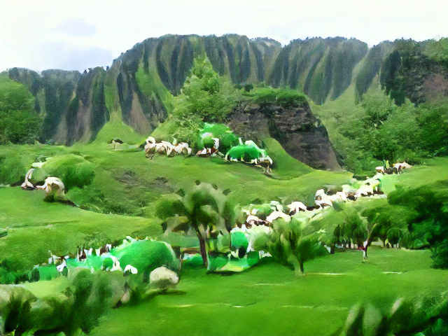 Deeply eroded green cliffs rise above some grass-topped mesas. The sheep are oversaturated but flowing down a tree-lined stream.