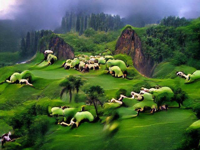Near photorealistic red cliffs and jungle textures in the background, growing more vague in the foreground. Green lumps look like hunched-over humans with legs and arms protruding.