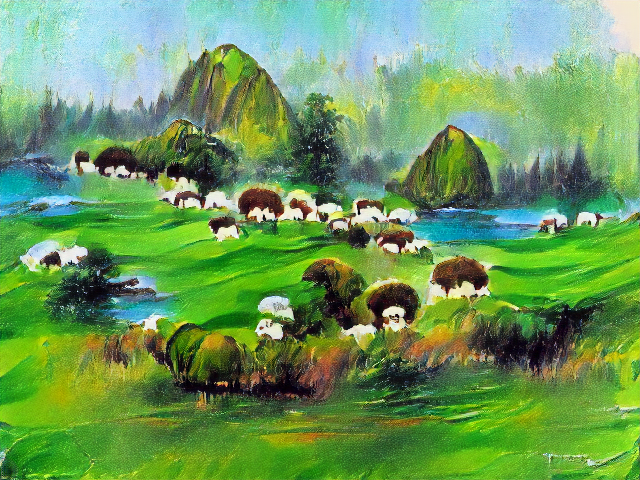 Steep domed mountains rise from among lakes and happy little trees. The white sheep lumps are there, but they're all wearing brown afros.