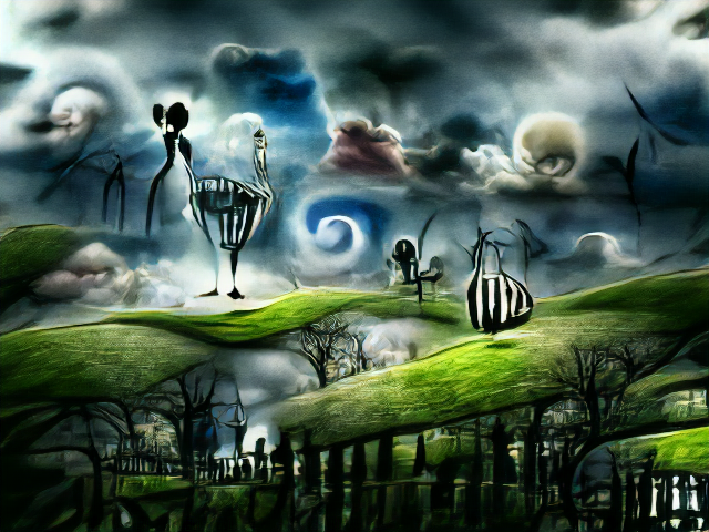 Skeletal trees, dark picket fences, and swirling, brooding mist. There's some stringy striped beings standing on floating ribbons of grass.
