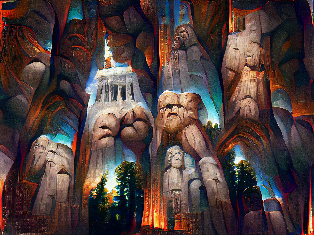 A painting of stone columns, redwood treetops, and humanoid stone pillars. The overall effect is of blue sky glowing from between deeply textured red arches.