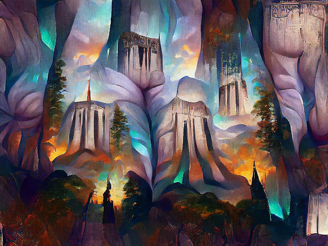 It does kind of look like several Devil's Tower mesas, interspersed with redwood trees. There are strange stony creases in the sky that do look kind of like butts.