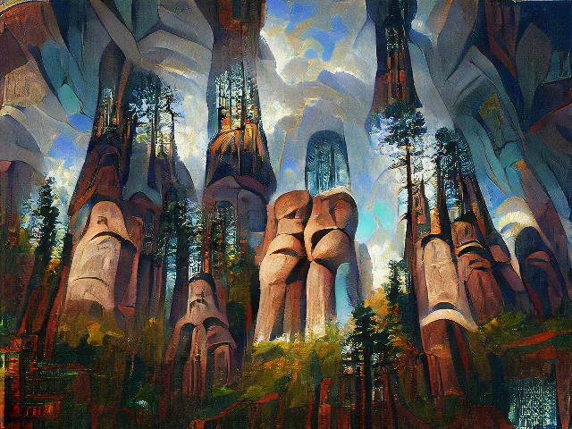 Stone pillars topped with redwood trees, rising up into a partly cloudy sky.