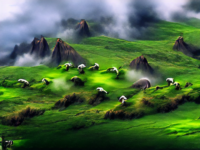 Clumps of mist scatter a mountainous and dramatically lit landscape. Pointed mountains ar picked out by glimmers of sun, which also tods verdant meadows in places. There are white lumps that might be sheep, but they're building-sized and irregulary shaped. One looks like a kaiju armadillo.