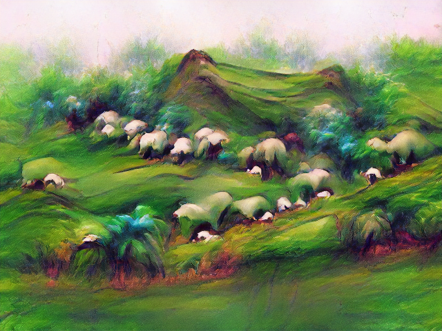 There's an oversaturated pastel look to the landscape, with everything in soft focus and brushstrokes clearly visible. The sheep are indistinct white lumps sheltering beneath much larger white folds of the landscape.
