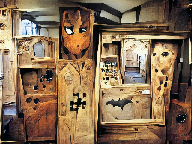 A structure made of wood but with confusing blocky areas with random holes. Many of the holes look like the eyes of various cartoon characters, including the pixelated frown of a minecraft creeper.