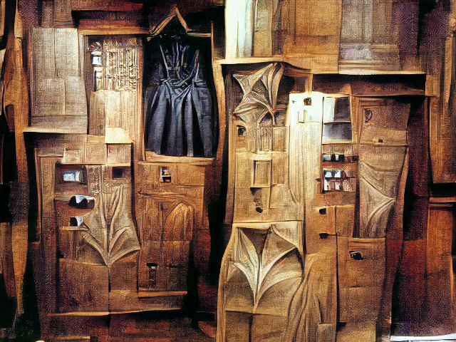 A complicated wooden structure with drawers and compartments and weird pleated areas, containing a single black dress.