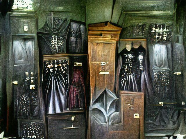 An organized closet full of black flowing dresses with deep pleats and leather in a stone room.