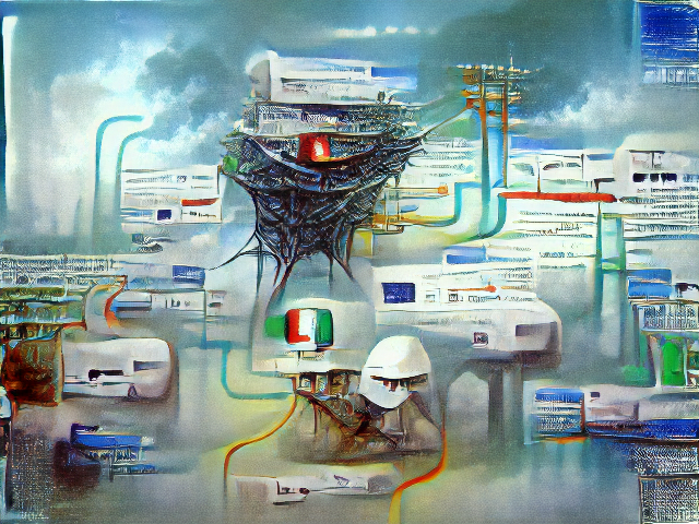 Airy with diffuse clouds, and telephone wires. Primary colored pipes snake between white areas that look like websites, and hovering above it all is a thick nest of cables from which glows a single red light.