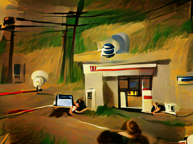 A gas station like storefront on a dramatically lit prairie landscape beneath power lines. The AT&T logo floats above the door of the gas station.