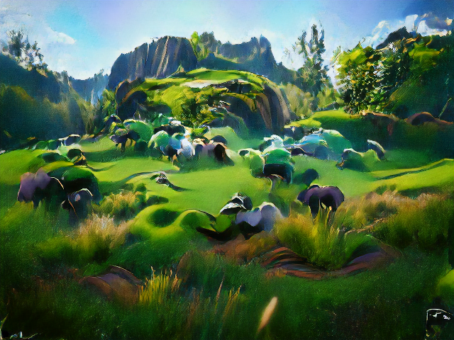 Steep cliffs encircle some grassy mesas, with clumps of grass in the foreground. Numerous lumps might be sheep, except they're purple and turquoise. Sharp focus and vignetting give the picture a great feeling of depth.