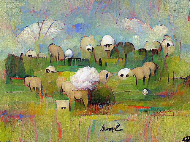Very abstract with pastel skies and yellow-green pasture. One area is fluffy enough to be a sheep; other areas are more like small spheres or squares but have two black eyes.