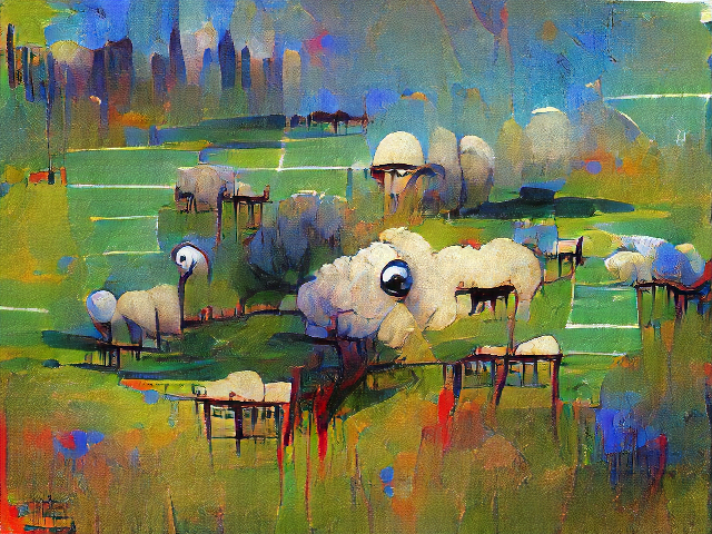 Deep saturated colors and contrasts. The sheep are in a park beneath city skyscrapers and are only sheep if you don't look at them closely at all. One area of fluff has a shiny metallic ball for a head. The others have dripping black hatchmarks for legs.