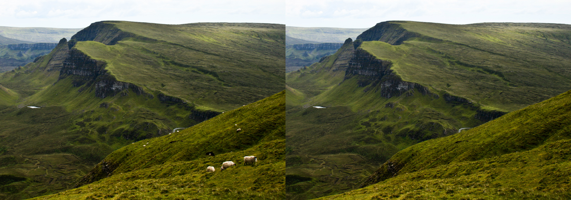 Left: a landscape on the Isle of Skye, with sheep grazing in the foreground and midground. Right: the same landscape, but without sheep.