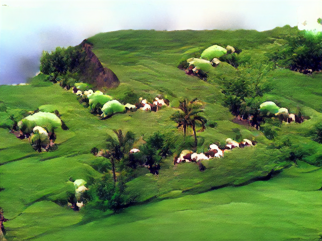 A flatly illuminated green clifftop with low shrubs and palm trees. The sheep are either white-green car-sized lumps or smaller popcorn huddles.