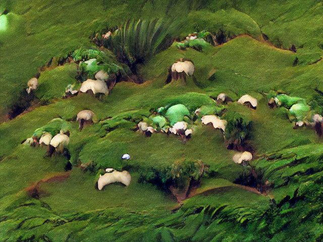 A mossy hillocky slope with weird leafy cracks and flaps. The sheep are very molar-like in color and texture.