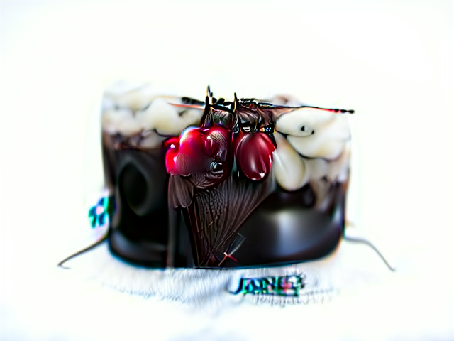 A chocolate mousse with thick lumpy white frosting, and three highly distorted cherries dripping from chocolate leaves. The cake has two thin black tendrils for some reason.