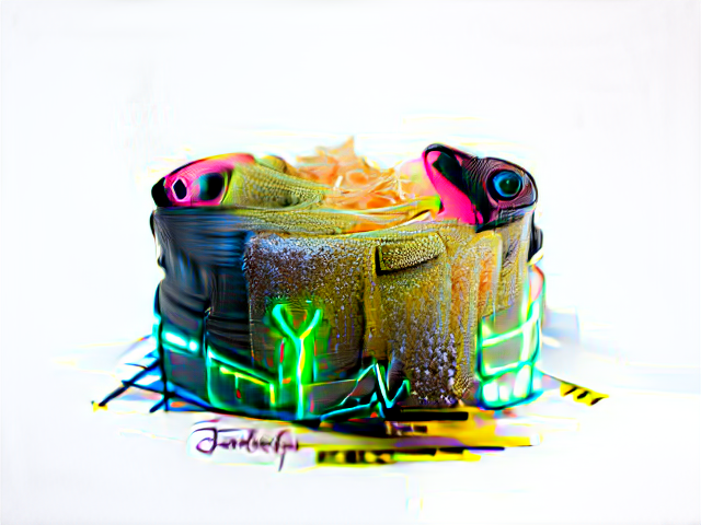 All the textures of the cake are complicated. There are neon lights, caution tape, some neon pink camera eyes, a green scaly area, a pile of peach-colored roses or maybe cellophane, a small pile of lint.