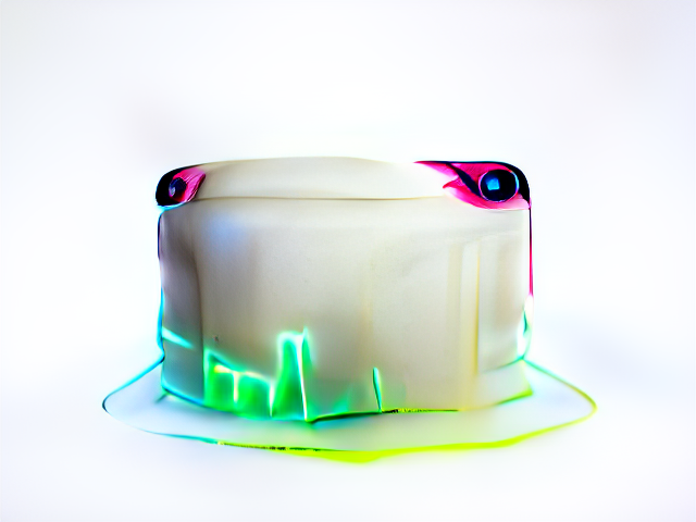 A shiny white cake with wide-set salamander-like eyes. The bottom of the cake crackles with a neon glow.