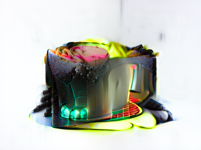 It's the size and shape of cake but now has a shiny red hallways swooping through one side. Three turquoise bulbs glow out of the dark side of the cake, and the top is filled with magenta and fluorescent yellow snacks, maybe.
