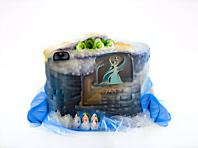 Blue bricks and cellophane, festooned with a few tiny people in fairy-queen ball gowns. A pile of brussels sprouts sits on top of the tree, and one rectangular viewfinder window seems to look out of the cake.
