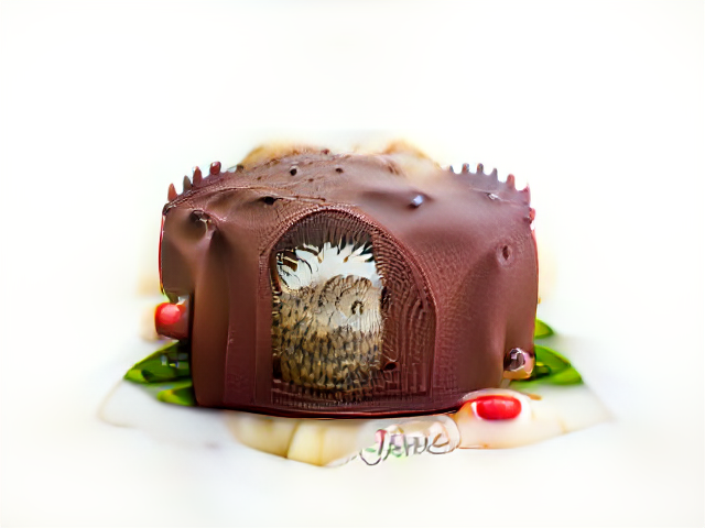 Thick brown frosting speckled with eyeballs and blunt spikes. From a doorway at the center a realistic hedgehog-textured animal appears to stand facing sideways.