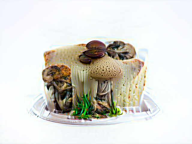 A cake constructed mostly of ribbon mushrooms from with other brown mushrooms, and a few tufts of green grass, emerge.