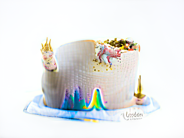 A scaly white cake. Vivid rainbow colors peek from the bottom as if from behind a curtain; in other areas tutti futti colored bits of cake erupt from the frosting, bristling with golden horns.