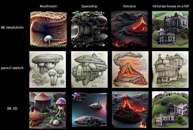 Grid of images of mushroom, spaceship, volcano, and victorian house on a hill, in 8k resolution, pencil sketch, and 8k 3d styles.
