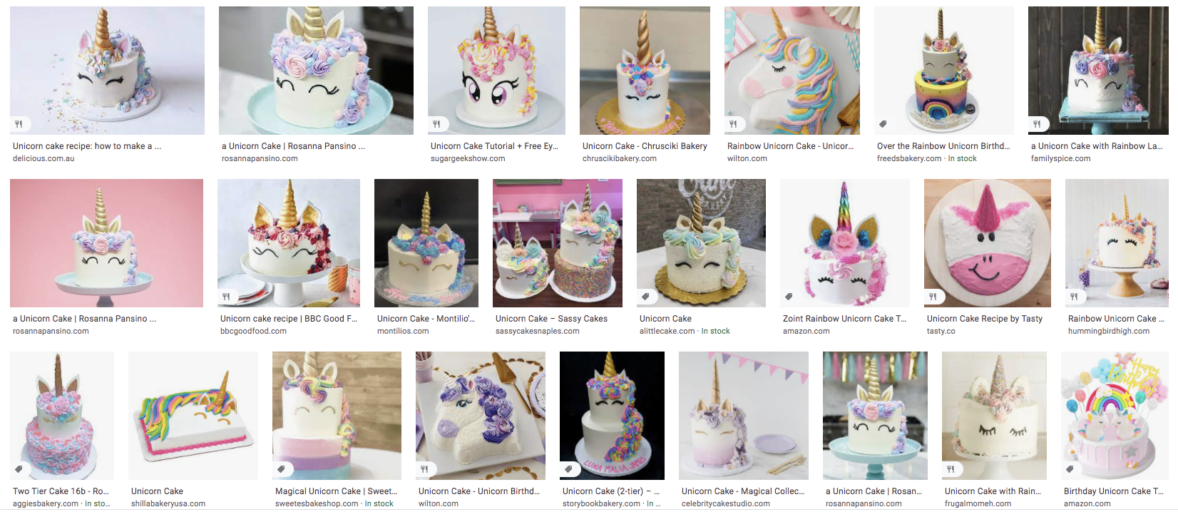 Google search results for a unicorn cake, showing mostly white cakes with a horn on top and two cartoon eyes in front, plus rainbow mane and pointed ears.