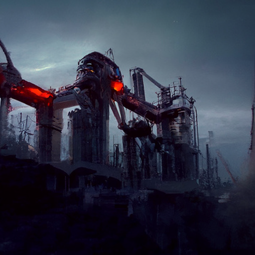 A shadowy dark shape like an oil refinery rises from the darkness, glowing red in places. The girders and catwalks are visible.