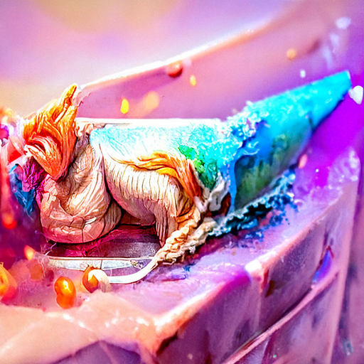 Perched on the edge of a steep cake cliff is a twist of color and texture like a peacock shrimp crossed with a jellyfish.