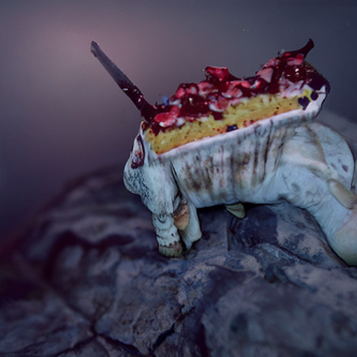 A dirty ceramic bowl with two unicorn feet, filled with cake topped with chopped cherries.