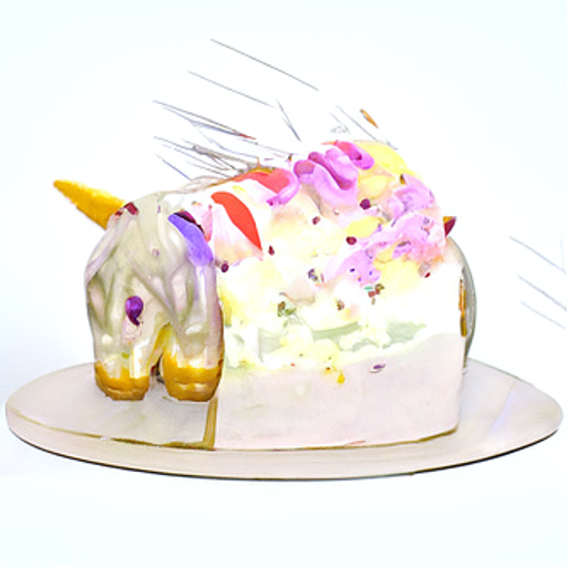 A hideous white cake with a hint of a unicorn face with melting frosting and melting purple eyes, and a foot that looks a lot like a cake. Long silver needles pierce the top of the cake.