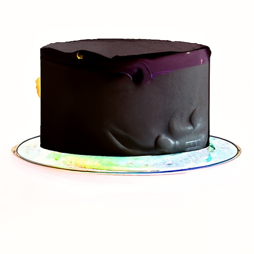 A black cake on a rainbow-sprinkled cake. Embossed in one side of the cake is a shape like a cartoon toaster head with two wild pigtails.
