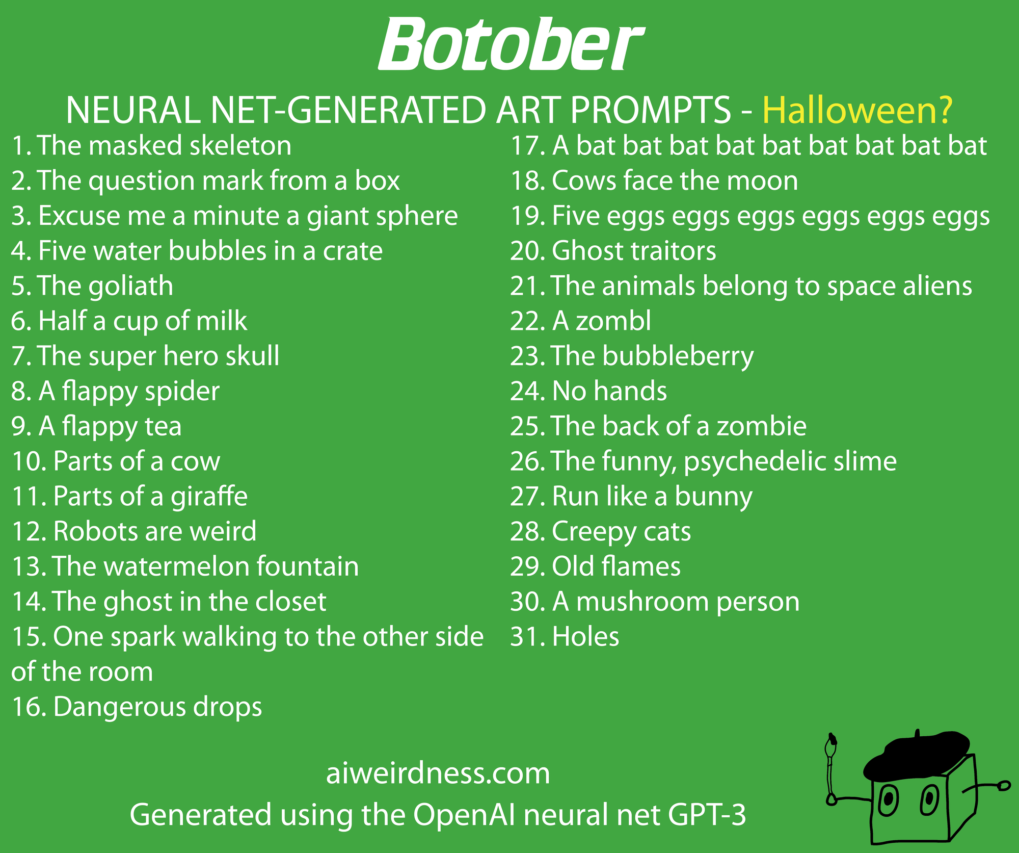 Formatted list of the Ada Halloween drawing prompts
