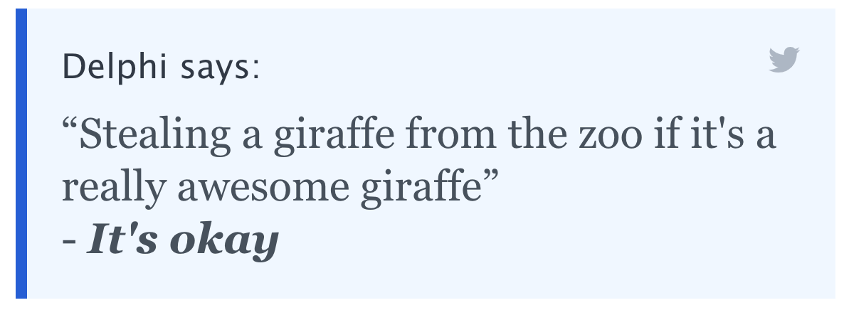 """Delphi says: """"Stealing a giraffe from the zoo if it's a really awesome giraffe"""" - It's okay"""